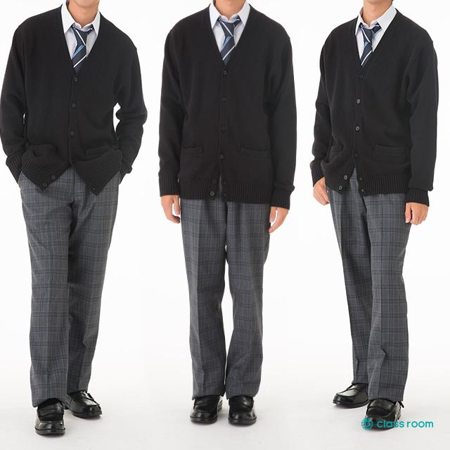 CL9901カーディガンブラックコーディネート男子